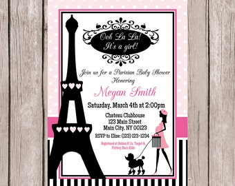 Paris Baby Shower Invitation, Paris Themed Baby Shower Invitation, Girl Baby  Shower Invitation