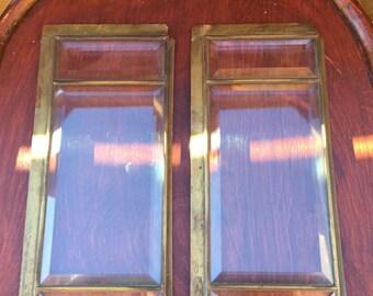 GLASS WINDOW w BRASS Frame / Heavy Glass Window Parts