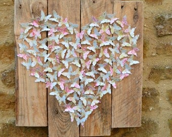 Recycled butterfly wall art/3d butterflies/paper art/upcycled art/custom made/room decor/wall hanging/heart