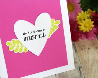 Handmade French Thank You Card - Hand Stamped Merci Card - French Merci Card - Hand Made Thank You Card in French - Card with Heart