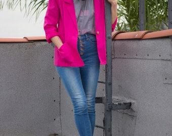 Pink Blazer | Vintage Blazer | Sag Harbor | Pink Jacket | Single-breasted Coat | Pink Coat | Blazer Women | Jacket Women's | Summer Jacket