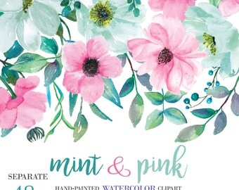 Mint& Pink Watercolor Flower Clipart Separate Elements Hand Painted Pink and Turquoise Flowers Wedding Diy Clip Art PNG Files Commercial Use
