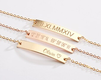 Custom Name Jewelry-Coordinate Bracelet-Best Friend-Bridesmaids Gift-Personalized-Valentine's Day Gift-14K Gold Filled-Rose-Silver -CG263B