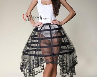 Black Tulle Lace Black Modern Cage Skirt Hoop Skirt Burlesque Fetish Halloween