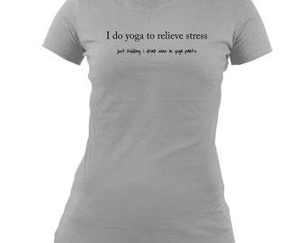 Women's Funny Yoga & Wine T-Shirt