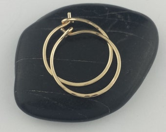 "Small 14k Solid Gold Hoop Earrings, 5/8"" to 1"" Solid 14k Gold Hoop Earrings, 14k Hoops, Hammered Hoop Earrings, Round Hoops"