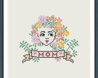Mothers Day Cross Stitch pattern - digital - Mom and Mum supplied. Mother Nature - Mother's day - tattoo - modern cross stitch  - PDF