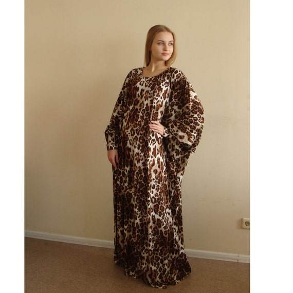 Leopard Maxi Dress Plus Size Prayer dress Farasha Caftan