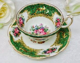 Coalport Montrose Green teacup and saucer.