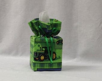 Tissue Box Cover, Tissue Box, Kleenex Box Cover, Bathroom Decor, Bathroom Accessories, Handmade, John Deere, Teacher Gift, Childs Decor