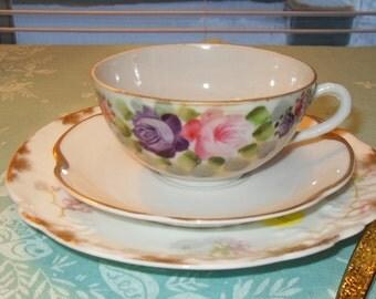 Mismatched Tea Trio Set Vintage A L and Haviland Limoges Pink Blossoms Plates Japan Floral Cup Pink and Purple Flowers