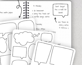 Speech Bubble Stickers, Speech Bubbles, Doodle Stickers - Journalspiration Bullet Journal Planner Stickers - 3 versions