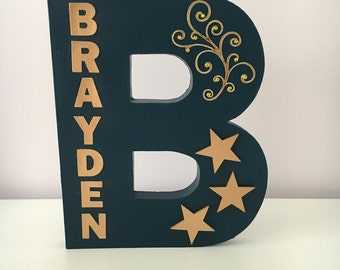Large Wooden Decorated Letter~Freestanding~Handcrafted~Personalised Boy/Teens/Kids Name~Birthday Gift/Room Decor/Party Decoration~Gold Stars