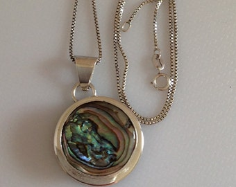 """Abalone Necklace, Sterling Silver Abalone Pendant, Abalone Pendant & Box Link Chain  18"""" Chain"""