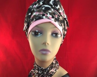 Three piece set one cap and two scarves, with this hat you can match your scarf and band around cap.