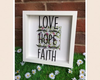 love hope faith shadow box frame 23x23cm home decor floral bird print background new home gift modern christian home positive quote