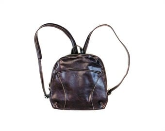 90s Vegan Brown Faux Leather Mini-Backpack