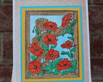 Red Poppy Blank Card, Blank Note card, Red Poppy, Flower card