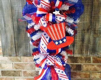Fourth of July deco mesh wreath,Patriotic wreath,fourth of July wreath,patriotic swag,fourth of July swag,patriotic wreath for front door