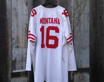 Vintage Joe Montana 49ers Jersey   XXXXL Joe Montana Jersey   Vintage San Francisoco 49ers Football Jersey   Old School Joe Montana Jersey