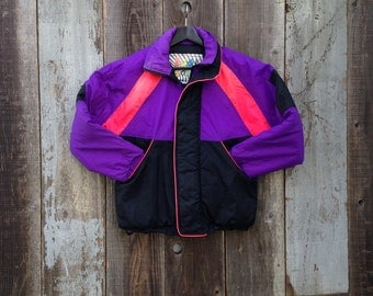 90s Ski Jacket | Vintage Ski Jacket | 1990s Ski Jacket | Neon Colorblock Jacket | Colorblock Ski Jacket