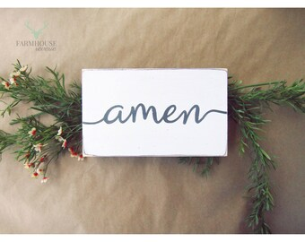 Rustic Amen Sign ( Small Rustic Wood Sign, Farmhouse Sign, Shabby Chic Sign, French Country Signs, Farmhouse Home Decor, Rustic Home Decor )