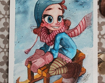 MINI ORIGINAL Sleigh Girl Din A5 Watercolor Painting