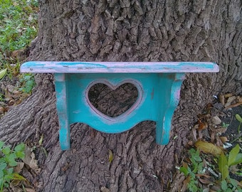Upcycled Wood Heart Wall Shelf, Teal & Pink Distressed Shelf, Nursery Storage, Book Shelf, Essential Oil Shelf