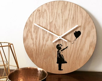 Banksy Wooden Wall Clock - Wall Art Clocks by Elablo - Quirky Wall Clock 30cm