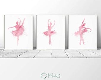 Set of 3 Ballerina, Nursery Wall Art, Pink Ballerinas, Ballerina Printable, DIY Wall Art, Pink Tutu Ballerina, Large Wall Art, Bedroom Decor