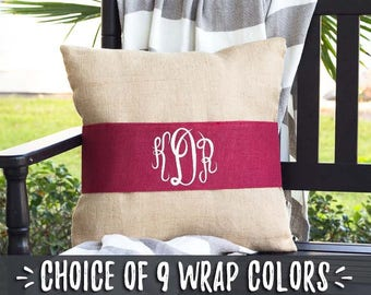 Living Room Pillows, Monogrammed 3 Letter Monogram Pillows, Burlap PIllow Wraps, Throw Pillow with Red Accent, Going Away Gift, 508012232