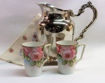 NIPPON Fine China Chocolate or Lemonade Cups with Hand Painted Moriage roses and trim - Vintage - Early 1900's