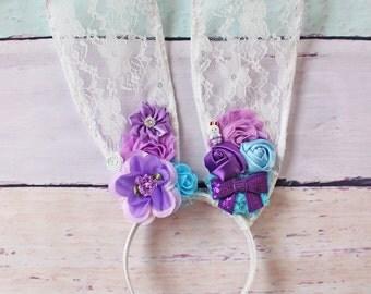 Bunny Ears Headband - Lace Bunny Ear Headband, Easter Bunny, Easter Headband, Lace Ears, Bunny Ears, Flower Bunny Ears, Flower Crown, Lace