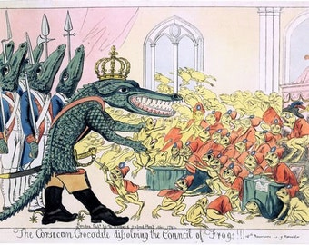"Vintage 18th Century British Political Satire Cartoon ""Council of Frogs"" Poster A3/A2/A1 Print"