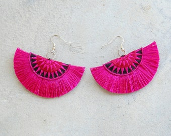 Fuchsia Embroidered Tassel Earrings