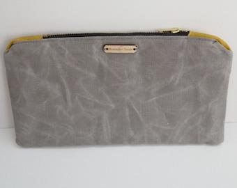 Waxed Canvas Gray Zip Pouch, Pencil Case, Makeup Bag, Clutch Bag