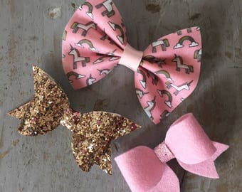 Handmade, set of 3 hair bows. Unicorn/pink/sparkle hair bows