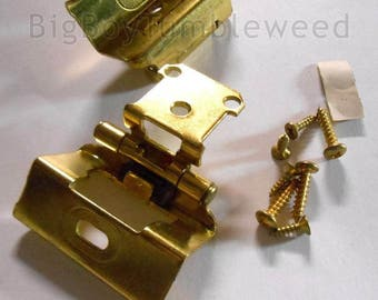 Lovely 2 PC Belwith Cabinet Hinges Face Frame Polished Brass Semi Concealed Full  Wrap Hardware Farmhouse Industrial