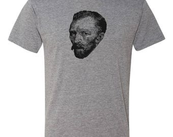 Van Gogh Men's Gray Triblend T-Shirt Great Artists Series