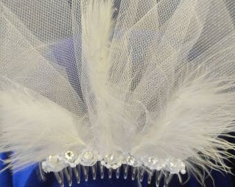 """Bridal Birdcage Veil white, swarovski crystals, rosettes, feathers & pearls. 19"""" long"""