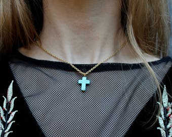 M A R Y || Turquoise Cross Necklace