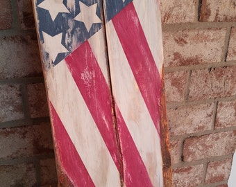 Rustic Flag Wood Sign