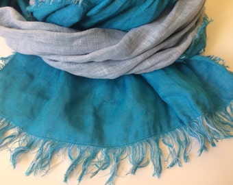 Turquoise Blue Linen Scarf, Light Blue Linen Scarf, Bicolor Linen Scarf, Turquoise Blue Scarf with Fringes, Two Sided Scarf, Long Scarf