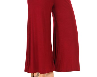 Elastic Waist Culottes Pants Burgundy