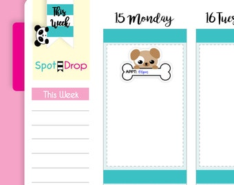 Kawaii Groomers Appointment Stickers, Vet Reminder Stickers, Kawaii Stickers, Functional Planner Stickers