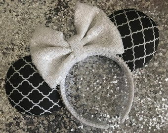 Black and White Trellis Print Mickey / Minnie Mouse Ears