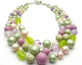 Triple Strand Pastel Colors Lucite Necklace Vintage from the 60s Retro Glass Beads Statement piece Mint Pink Lavender
