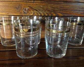 Old shot glasses set, Soviet Vintage shot glass, gold rimmed glass stemware / vodka glasses