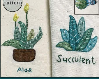 plus_*NEW* Bonus Free Pattern_Aloe+Succulent_GreatforEcobag_PDF files_instant download files_Hand Embroidery Pattern_NewUpdatedGuide!