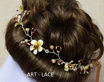 Wedding hair accessories hair piece hair vine Boho wedding accessories white yellow resin wire hair flower Frangipani Woodlands wedding